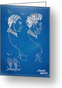 High Resolution Greeting Cards - Novelty Wig Patent Artwork Greeting Card by Nikki Marie Smith