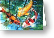 Green Painting Greeting Cards - November Koi Greeting Card by Patricia Allingham Carlson