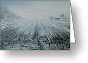 Snow On Field Greeting Cards - November Morning on the Local Farm Greeting Card by Alla Dickson