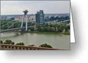Most Greeting Cards - Novy Most Bridge - Bratislava Greeting Card by Jon Berghoff
