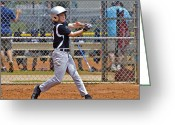 Child Playing Baseball Greeting Cards - Now Run Greeting Card by Susan Leggett
