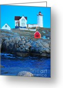 York Maine Greeting Cards - Nubble at Twilight Greeting Card by Catherine Reusch  Daley