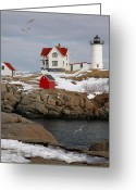 Neddick Greeting Cards - Nubble Light - Cape Neddick lighthouse seascape landscape rocky coast Maine Greeting Card by Jon Holiday