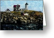York Maine Greeting Cards - Nubble Light - York Maine Greeting Card by Robert Goudreau