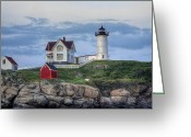 Nubble Greeting Cards - Nubble Light at Dusk Greeting Card by Eric Gendron