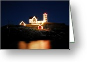 New England Digital Art Greeting Cards - Nubble Light Christmas II Greeting Card by William Carroll