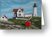 Maine Painting Greeting Cards - Nubble Light House Greeting Card by Paul Walsh