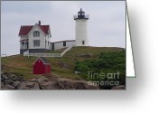 York Maine Greeting Cards - Nubble Light House York Maine Greeting Card by Joy DiNardo Bradley         DiNardo Designs
