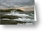 York Maine Greeting Cards - Nubble Light in a Storm Greeting Card by Richard Frost