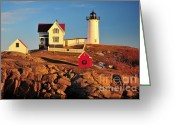 York Maine Greeting Cards - Nubble Light Sunset Greeting Card by Catherine Reusch  Daley