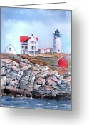 Nubble Greeting Cards - Nubble Lighthouse - Maine Greeting Card by Arline Wagner