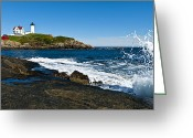 York Maine Greeting Cards - Nubble Lighthouse Greeting Card by Andrew Kubica