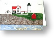 Historic Lighthouse Drawings Greeting Cards - Nubble Lighthouse at Cape Neddick Greeting Card by Frederic Kohli