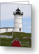 Neddick Greeting Cards - Nubble Lighthouse- Canvas Greeting Card by Luke Moore