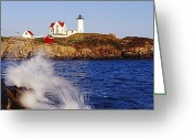Nubble Greeting Cards - Nubble Lighthouse in Daylight Greeting Card by Jeremy Woodhouse