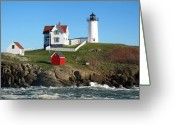 Neddick Greeting Cards - Nubble Lighthouse One Greeting Card by Barbara McDevitt