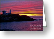 Cape Neddick Light Station Greeting Cards - Nubble Lighthouse Greeting Card by Scott Moore