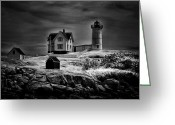 Dreary Greeting Cards - Nubble Night Greeting Card by Tricia Marchlik