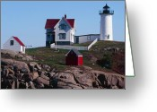 Cape Neddick Light Station Greeting Cards - Nubble Point Lighthouse Greeting Card by George Oze