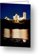 York Maine Greeting Cards - Nubble Stars Greeting Card by Greg Fortier