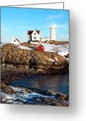 Neddick Greeting Cards - Nubble Sun Burst Greeting Card by Greg Fortier