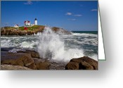 Neddick Greeting Cards - Nubble Waves Greeting Card by Robert Clifford
