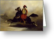 Orientalists Greeting Cards - Nubian Horseman at the Gallop Greeting Card by Alfred Dedreux or de Dreux