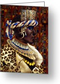 Costumes Painting Greeting Cards - Nubian Prince Greeting Card by Jane Whiting Chrzanoska