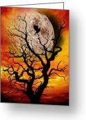 Scary Surreal Fantasy Art Greeting Cards - Nuclear Moonrise Greeting Card by Meirion Matthias