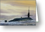 Sub Greeting Cards - Nuclear Submarine Greeting Card by James Williamson