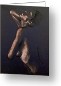 Paper Painting Greeting Cards - Nude - Passion Greeting Card by Dorina  Costras