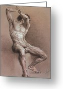 Human Body Symbolism Drawings Greeting Cards - Nude 9 Greeting Card by Valeriy Mavlo