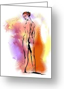 Colourful Mixed Media Greeting Cards - Nude Greeting Card by Alex Tavshunsky