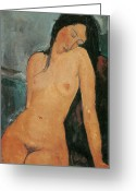 Modigliani Greeting Cards - Nude Greeting Card by Amedeo Modigliani