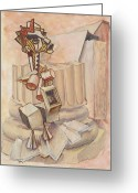 Greek Sculpture Painting Greeting Cards - Nude Ascending a Staircase Greeting Card by Roger Clark
