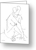 Posters On Greeting Cards - Nude-Female-Drawing-19 Greeting Card by Gordon Punt