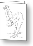 Ink Posters Drawings Greeting Cards - Nude Female Drawings 10 Greeting Card by Gordon Punt