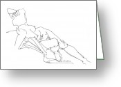 Posters On Greeting Cards - Nude Female Drawings 3 Greeting Card by Gordon Punt