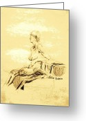 Cheek Drawings Greeting Cards - Nude Female Seated Looking Away Greeting Card by Sheri Parris
