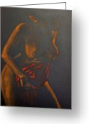 Paper Painting Greeting Cards - Nude in darkness Greeting Card by Dorina  Costras