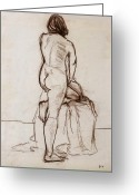 Figure Drawing Greeting Cards - Nude Model Greeting Card by Ethel Vrana