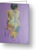 Dark Hair Pastels Greeting Cards - Nude on purple background Greeting Card by June Schneider