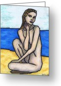 In The Nude Greeting Cards - Nude on The Beach Greeting Card by Kamil Swiatek