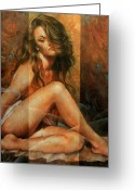 Nudes Greeting Cards - Nude portrait Greeting Card by Arthur Braginsky