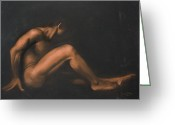 Male Pastels Greeting Cards - Nude Sitting Greeting Card by L Cooper