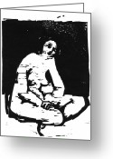 White Reliefs Greeting Cards - Nude Sitting Greeting Card by Robert Cooper