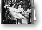 Daguerreotype Greeting Cards - NUDES HAVING TEA, c1850 Greeting Card by Granger