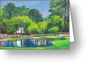 Fame Greeting Cards - Number 16 at AUGUSTA MASTERS Greeting Card by Dan Haraga