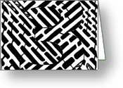 Learn To A Maze Greeting Cards - Number 3 Maze Greeting Card by Yonatan Frimer Maze Artist