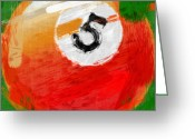 Balls Digital Art Greeting Cards - Number Five Billiards Ball Abstract Greeting Card by David G Paul